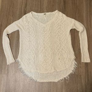 Free People Cable Knit White Sweater